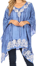 Sakkas Alizia Lightweight Embroidery Batik Top Tunic Blouse Caftan Cover up Poncho#color_Sky Blue