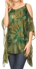 Sakkas Lucia Women's Tie Dye Embroidered Cold Shoulder Loose Tunic Blouse Top Tank#color_Avocado / Green