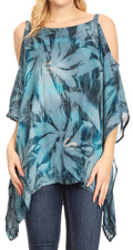 Sakkas Lucia Women's Tie Dye Embroidered Cold Shoulder Loose Tunic Blouse Top Tank#color_Grey / Blue