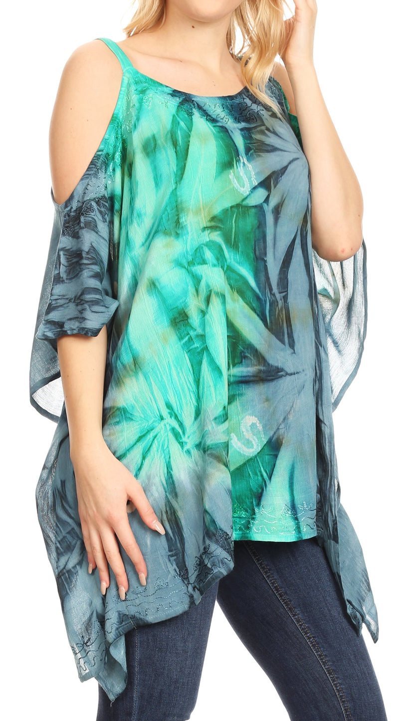 Sakkas Lucia Women's Tie Dye Embroidered Cold Shoulder Loose Tunic Blouse Top Tank