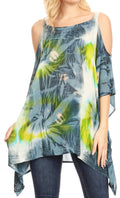 Sakkas Lucia Women's Tie Dye Embroidered Cold Shoulder Loose Tunic Blouse Top Tank#color_Grey / White