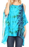 Sakkas Lucia Women's Tie Dye Embroidered Cold Shoulder Loose Tunic Blouse Top Tank#color_Turq/Blue