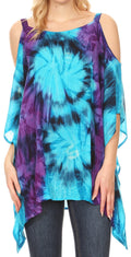 Sakkas Lucia Women's Tie Dye Embroidered Cold Shoulder Loose Tunic Blouse Top Tank#color_Turq/Purple