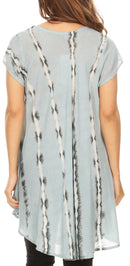 Sakkas Maite Womens Tie Dye V neck Tunic Top Ethnic Summer Style Flowy w/sequin
