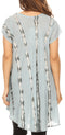 Sakkas Maite Womens Tie Dye V neck Tunic Top Ethnic Summer Style Flowy w/sequin#color_Dusty Blue