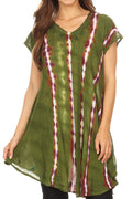 Sakkas Maite Womens Tie Dye V neck Tunic Top Ethnic Summer Style Flowy w/sequin#color_Green