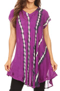 Sakkas Maite Womens Tie Dye V neck Tunic Top Ethnic Summer Style Flowy w/sequin#color_Purple