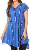 Sakkas Maite Womens Tie Dye V neck Tunic Top Ethnic Summer Style Flowy w/sequin#color_Royal Blue