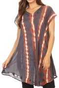 Sakkas Maite Womens Tie Dye V neck Tunic Top Ethnic Summer Style Flowy w/sequin#color_Steel Blue