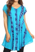 Sakkas Maite Womens Tie Dye V neck Tunic Top Ethnic Summer Style Flowy w/sequin#color_Turquoise