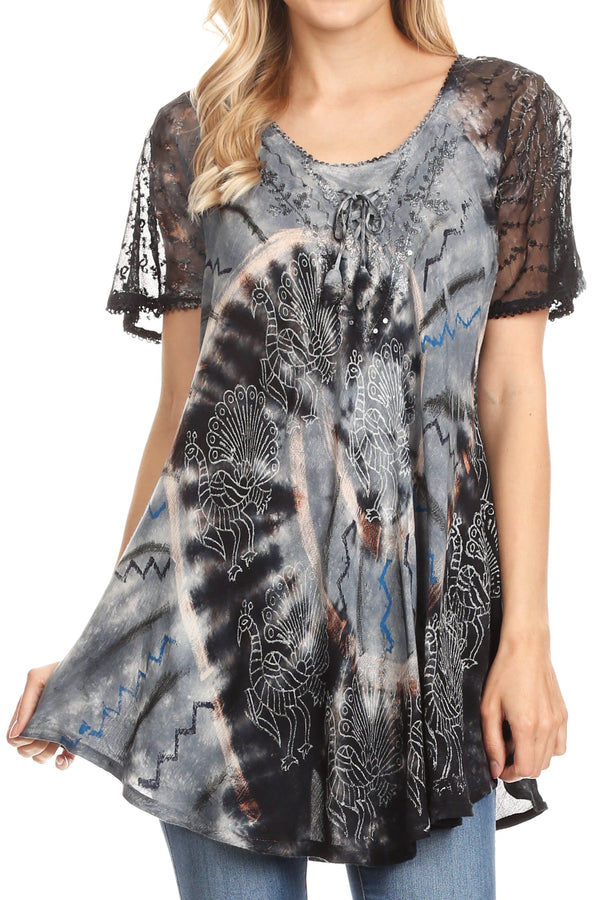 Sakkas Hira Women Short Sleeve Eyelet Lace Blouse Top in Tie-dye with Corset Flowy#color_Black