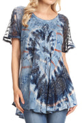 Sakkas Hira Women Short Sleeve Eyelet Lace Blouse Top in Tie-dye with Corset Flowy#color_Blue