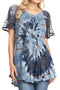 Sakkas Hira Women Short Sleeve Eyelet Lace Blouse Top in Tie-dye with Corset Flowy