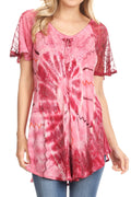 Sakkas Hira Women Short Sleeve Eyelet Lace Blouse Top in Tie-dye with Corset Flowy#color_Fuchsia