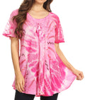 Sakkas Hira Women Short Sleeve Eyelet Lace Blouse Top in Tie-dye with Corset Flowy#color_Pink