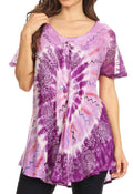 Sakkas Hira Women Short Sleeve Eyelet Lace Blouse Top in Tie-dye with Corset Flowy#color_Purple