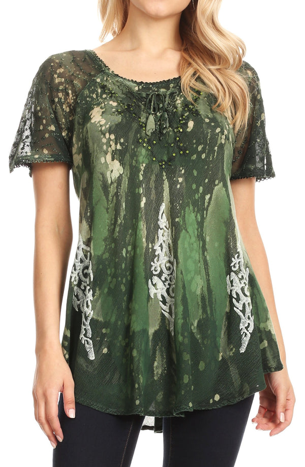 Sakkas Jannat  Short Sleeve Casual Work Top Blouse in Tie-Dye with Embroidery Lace#color_Green