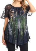 Sakkas Jannat  Short Sleeve Casual Work Top Blouse in Tie-Dye with Embroidery Lace#color_Navy