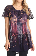 Sakkas Jannat  Short Sleeve Casual Work Top Blouse in Tie-Dye with Embroidery Lace#color_Purple-tan