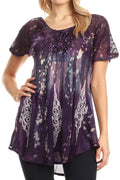Sakkas Jannat  Short Sleeve Casual Work Top Blouse in Tie-Dye with Embroidery Lace#color_Purple-turq