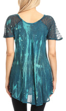 Sakkas Jannat  Short Sleeve Casual Work Top Blouse in Tie-Dye with Embroidery Lace