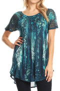 Sakkas Jannat  Short Sleeve Casual Work Top Blouse in Tie-Dye with Embroidery Lace#color_Teal