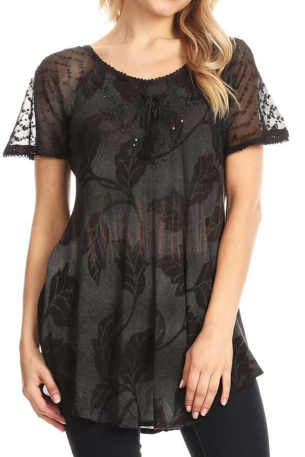 Sakkas Parisa Casual Summer Short Sleeve Top Blouse with Corset and Embroidery#color_Black