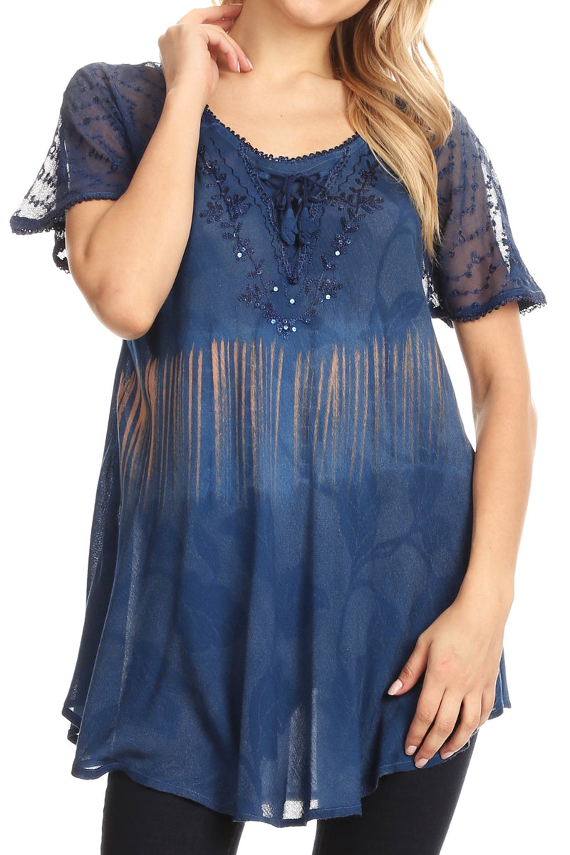 Sakkas Parisa Casual Summer Short Sleeve Top Blouse with Corset and Embroidery
