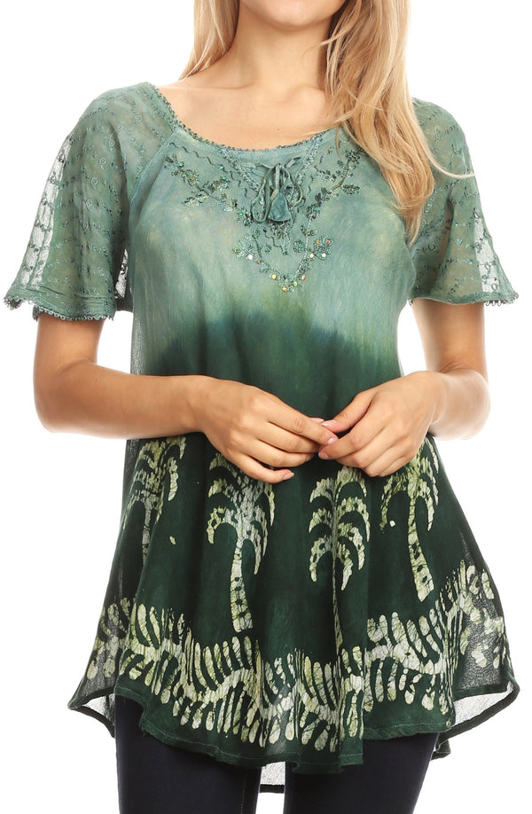 Sakkas Magda Womens Short Sleeve Flare Bohemian Blouse Top Lace Batik Printed#color_Green