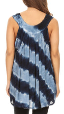 Sakkas Aria Womens Sleeveless V-neck Tank Top Tie-dye with Sequin & Embroidery
