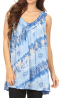 Sakkas Aria Womens Sleeveless V-neck Tank Top Tie-dye with Sequin & Embroidery#color_Light Blue