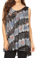 Sakkas Aria Womens Sleeveless V-neck Tank Top Tie-dye with Sequin & Embroidery#color_Midnight Blue