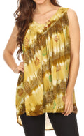 Sakkas Aria Womens Sleeveless V-neck Tank Top Tie-dye with Sequin & Embroidery#color_Moss