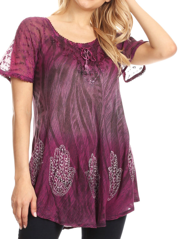 Sakkas Lily Casual Everyday Summer Short Sleeve Top Blouse with Block Print & Lace#color_Fuchsia