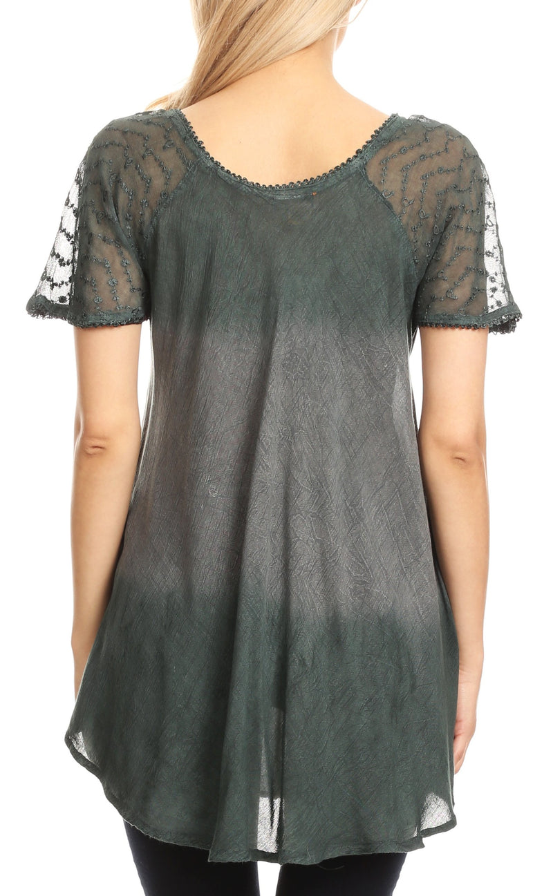 Sakkas Lily Casual Everyday Summer Short Sleeve Top Blouse with Block Print & Lace