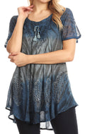 Sakkas Lily Casual Everyday Summer Short Sleeve Top Blouse with Block Print & Lace#color_Steel Blue