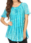 Sakkas Catia Casual Short Sleeves Tie-dye Blouse Top with Embroidery and Sequin#color_Turq