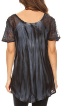 Sakkas Catia Casual Short Sleeves Tie-dye Blouse Top with Embroidery and Sequin