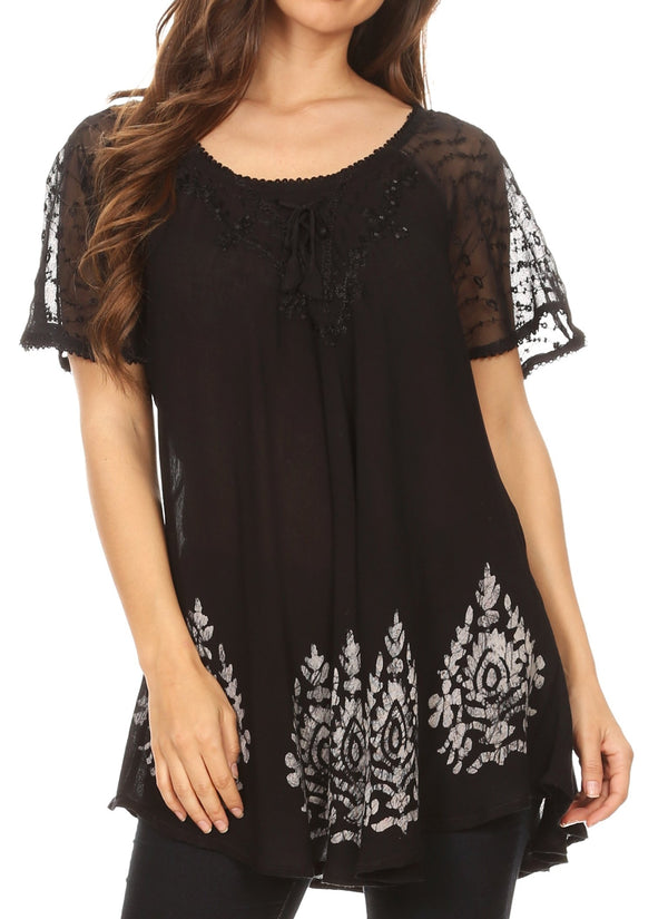 Sakkas Alberta Womens Short Sleeve Corset Blouse Top with Batik and Lace Sleeves#color_Black