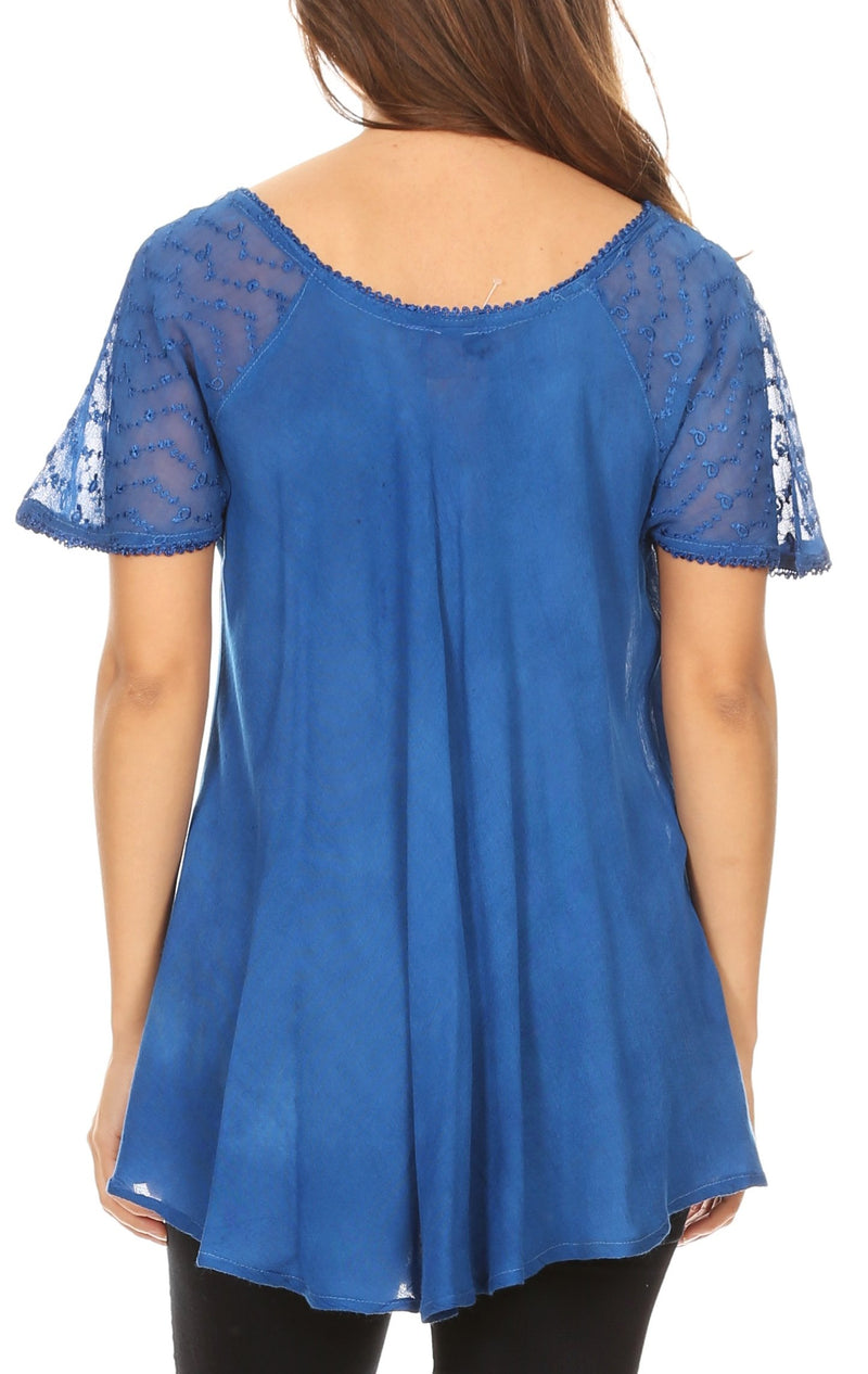 Sakkas Alberta Womens Short Sleeve Corset Blouse Top with Batik and Lace Sleeves