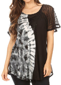 Sakkas Iris Womens Tie-dye Short Sleeve Blouse Top with Corset and Embroidery#color_Black