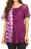 Sakkas Iris Womens Tie-dye Short Sleeve Blouse Top with Corset and Embroidery#color_Purple