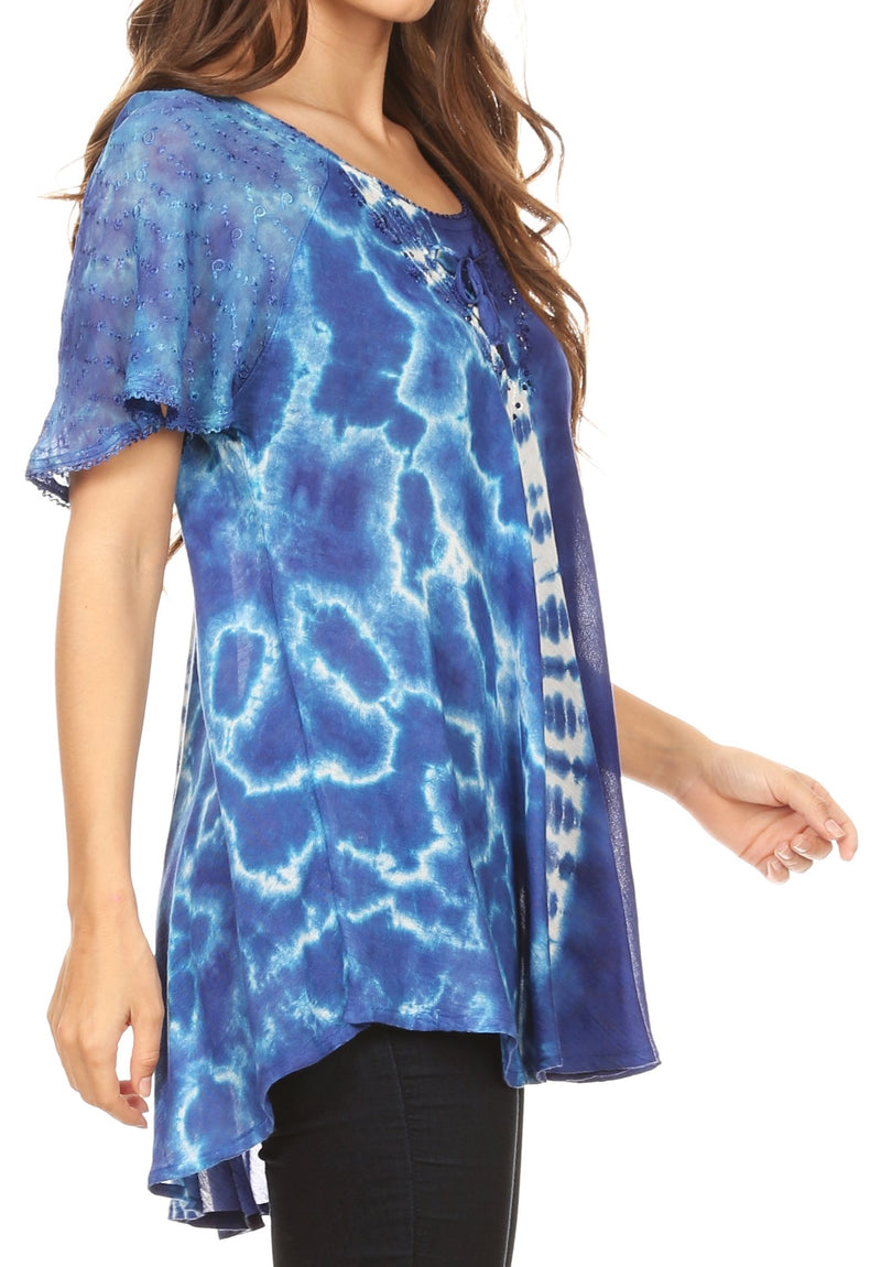 Sakkas Iris Womens Tie-dye Short Sleeve Blouse Top with Corset and Embroidery