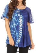Sakkas Iris Womens Tie-dye Short Sleeve Blouse Top with Corset and Embroidery#color_Royal Blue