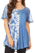 Sakkas Iris Womens Tie-dye Short Sleeve Blouse Top with Corset and Embroidery#color_Sky Blue