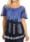 Sakkas Ivanna Womens Short Raglan Lace Sleeve Flowy Top Blouse Tie-dye & Batik#color_Blue