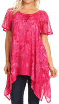 Sakkas Kiara Womens Asymmetrical Marble Dye Summer Top Blouse Short Sleeve Lace#color_Fuschia