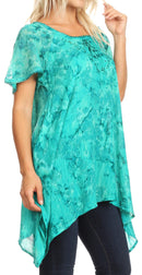 Sakkas Kiara Womens Asymmetrical Marble Dye Summer Top Blouse Short Sleeve Lace