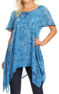 Sakkas Kiara Womens Asymmetrical Marble Dye Summer Top Blouse Short Sleeve Lace#color_Blue