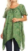 Sakkas Kiara Womens Asymmetrical Marble Dye Summer Top Blouse Short Sleeve Lace#color_Green